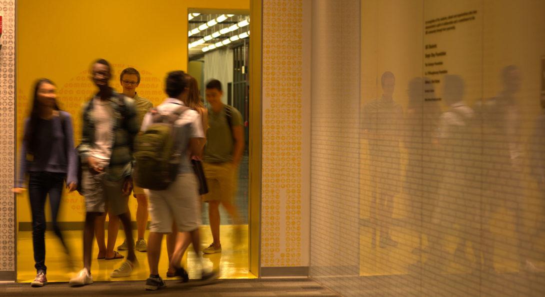 Students at library corridor